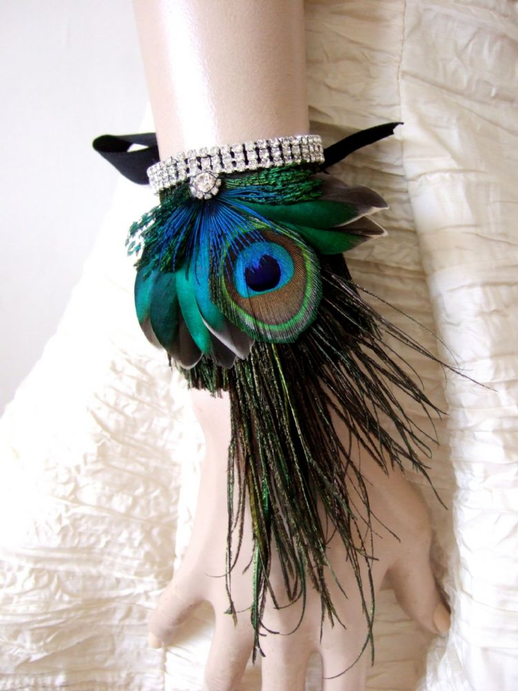 "Peacock Teal Wrist Corsage Wristlet Bracelet Cuff wih Crystals ""Eli"" Art Deco / Bridal / Prom"